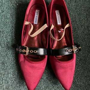 Cape Robbin Satin Red pointed toe ballet flat